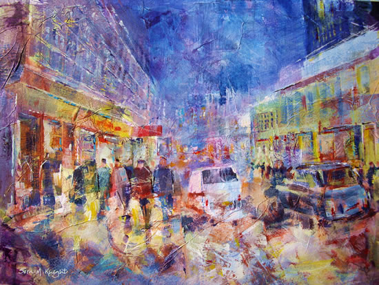 London Taxi & Busy London Street & Shops - Painting by Horsell Woking Surrey Artist Sera Knight