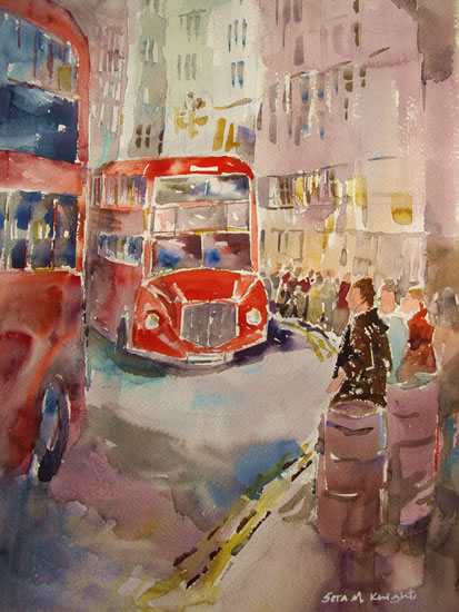 Red London Bus Queue - Painting by Horsell Woking Surrey Artist Sera Knight