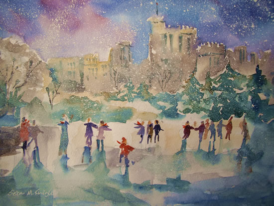 Skating by Windsor Castle-Berkshire - Snowflakes and Skaters Painting by Horsell Woking Surrey Artist Sera Knight