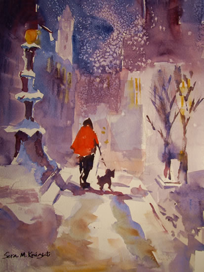 Snow Patrol - Walking The Dog. Walkies Painting by Horsell Woking Surrey Artist Sera Knight
