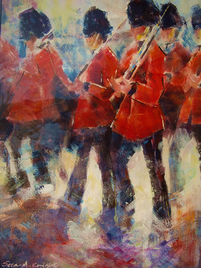London Guards Marching on Parade - Soldiers On The March at Buckingham Palace - Painting by Horsell Woking Surrey Artist Sera Knight