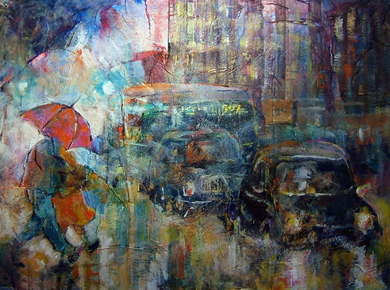 Woking Art Gallery - Rain In The City - Painting by Horsell Woking Surrey Artist Sera Knight