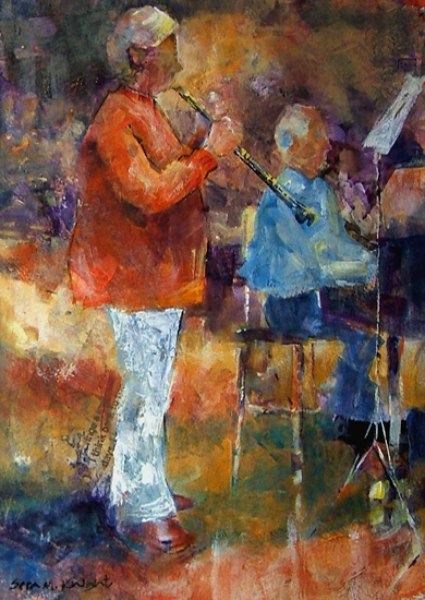 Woking Art Gallery - Music Collection - The Clarinet Player - Painting by Horsell Woking Surrey Artist Sera Knight