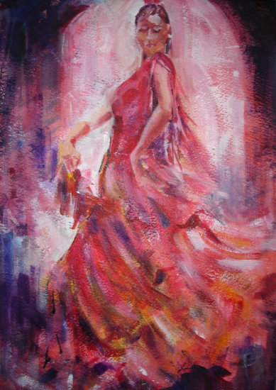Flamenco Dancer With Fan - Spanish Dance Gallery of Art