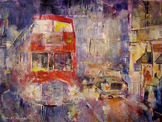 Woking Art Gallery - London Bus & London Taxi Street Scene- Painting by Horsell Woking Surrey Artist Sera Knight