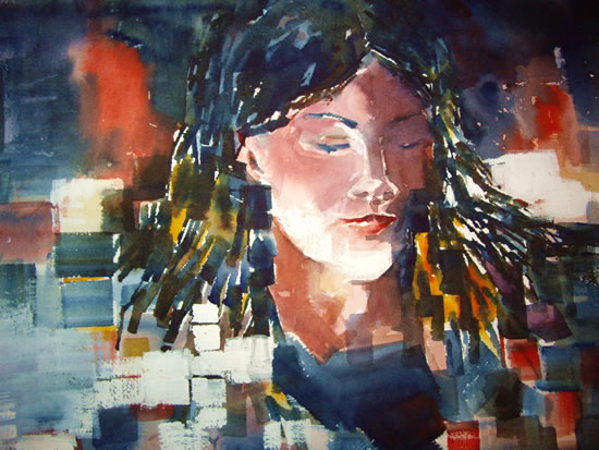 Contemporary Girl - Painting of Girl by Horsell Woking Surrey Artist Sera Knight