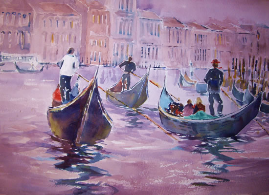 Gondoliers - Boats Gallery of Paintings by Horsell Woking Surrrey Artist Sera Knight