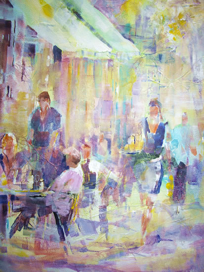 Café Culture - Waitress serving at Cafe or Restaurant - Painting by Horsell Woking Surrey Artist Sera Knight