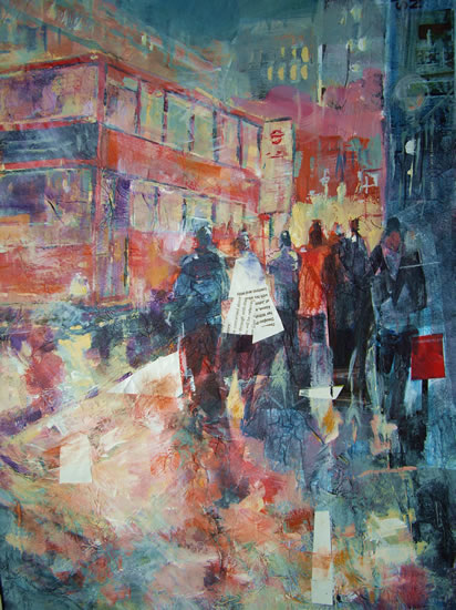 Bus Stop & London Red Buses - Painting by Horsell Woking Surrey Artist Sera Knight