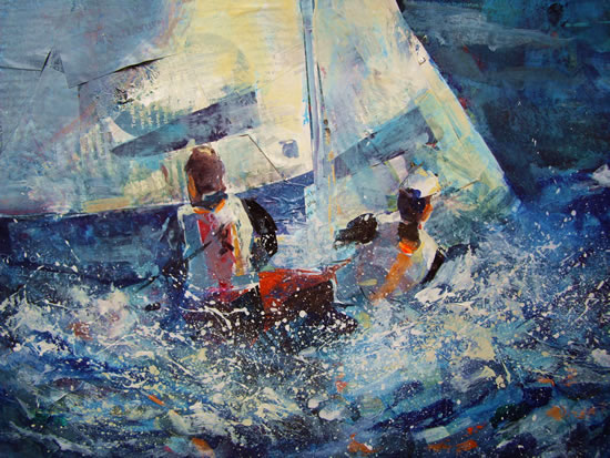 Adrift  - Boats Gallery of Paintings by Horsell Woking Surrrey Artist Sera Knight