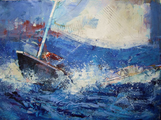 Splash  - Boats Gallery of Paintings by Horsell Woking Surrrey Artist Sera Knight