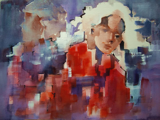 Blonde  Girl and Man - Contemporary Painting by Horsell Woking Surrey Artist Sera Knight