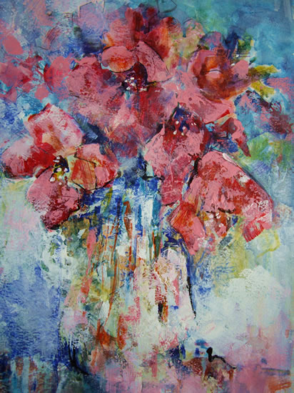Vase of Flowers - Tulips Opened Up! - Painting by Horsell Woking Surrey Artist Sera Knight