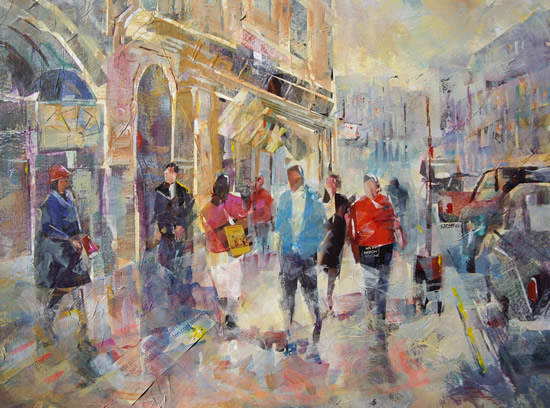 London Shopping & Traffic Painting by Horsell Woking Surrey Artist Sera Knight