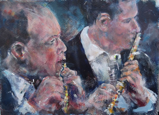 Flute section of orchestra - Classical Music Art Gallery - Flautists