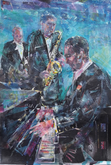 Jazz Music - Painting of Saxophone & Piano Duo - Music Art Gallery of Woking near London Artist