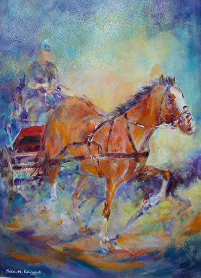 Horse & Carriage Racing - Horse Collection of Paintings by Woking Surrey Artist Sera Knight