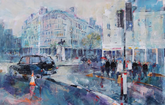 Taxi & Street Scene - London Art Gallery - City painting