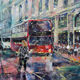 Red Bus London Street Scene With Traffic Lights