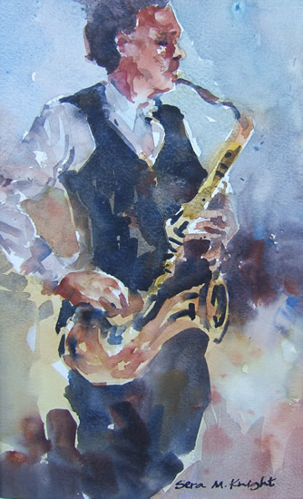 Sax Player at Jazz Club - Music Art Gallery of Surrey Artist Sera Knight