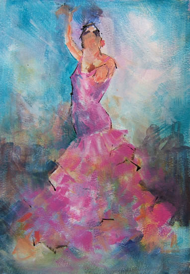 Pink Flamenco - Flamenco Dancer - Ballet & Dance Gallery of Art - Paintings by Surrey Artist Sera Knight - Horsell, Woking Surrey England