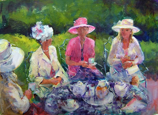 Tea-Time Painting by Horsell Woking Surrey Artist Sera Knight
