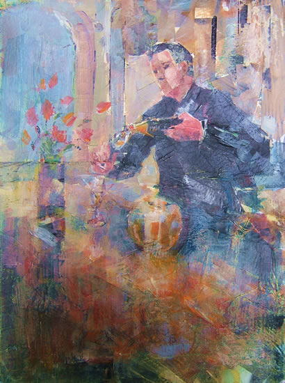 Champers - Champagne Is Served - Painting by Horsell Woking Surrey Artist Sera Knight