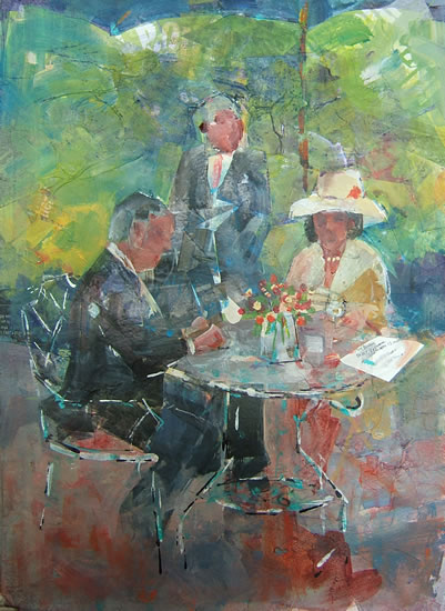 Silver Service Tea - Charming Tea Painting by Horsell Woking Surrey Artist Sera Knight