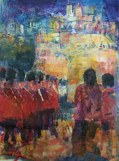 Marching Soldiers on Parade - Guards -  Painting by Horsell Woking Surrey Artist Sera Knight