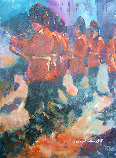 Musical Guards - Soldiers Playing Music including Drums & Brass band - Painting by Horsell Woking Surrey Artist Sera Knight