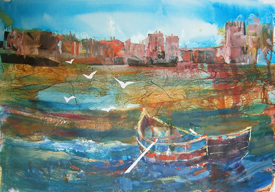 Seagulls and Castle - Boats Gallery of Paintings by Horsell Woking Surrrey Artist Sera Knight