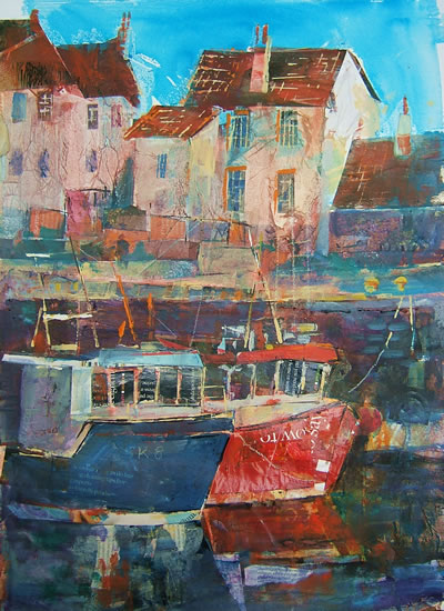 Harbour Cottages - Boats Gallery of Paintings by Horsell Woking Surrrey Artist Sera Knight
