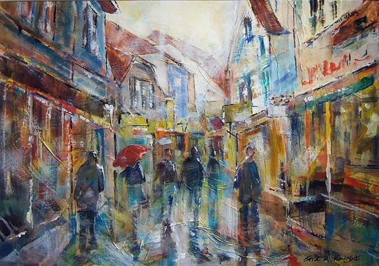 Woking Art Gallery - Umbrellas - Rainy Day Street Scene