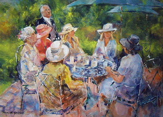 Woking Art Gallery Surrey - Painting of Tea at Royal Ascot Berkshire