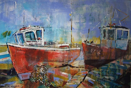 Fishing Boats - Painting By Horsell Woking Surrey Artist Sera Knight