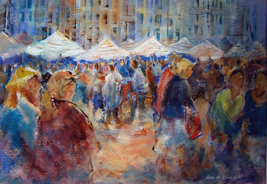 Woking Art Gallery - Market Scene - Painting by Horsell Woking Surrey Artist Sera Knight
