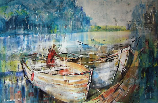 Boats Painting by Horsell Woking Surrey Artist Sera Knight