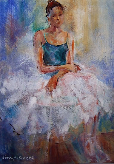 Ballerina resting - Gallery of Dance Paintings by Woking Surrey Artist Sera Knight