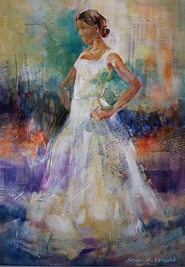 White Flamenco - Flamenco Dancer - Ballet & Dance Gallery of Art - Paintings bt Surrey Artist Sera Knight - Horsell, Woking Surrey England