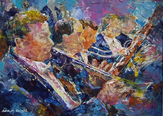 Orchestra Wind Section - Gallery of Dance Paintings by Woking Surrey Artist Sera Knight