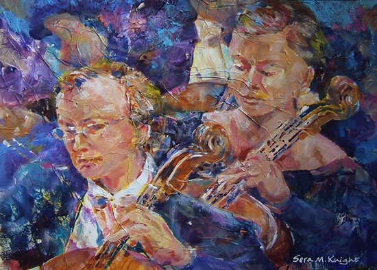 Orchestra String Section - Gallery of Dance Paintings by Woking Surrey Artist Sera Knight