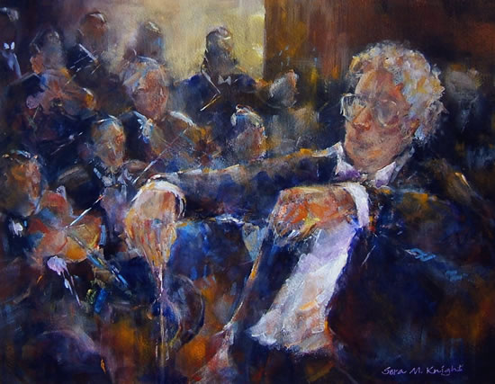 Orchestra & Conductor - Painting by Woking Surrey Artist Sera Knight - Classical Music Section