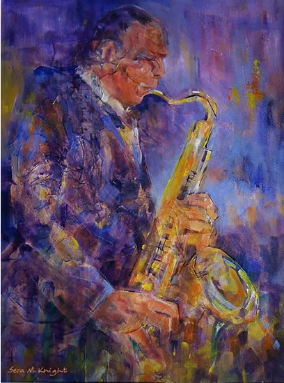 Orchestra Collection - Saxophone Player - Gallery of Classical Music Paintings by Woking Surrey Artist Sera Knight