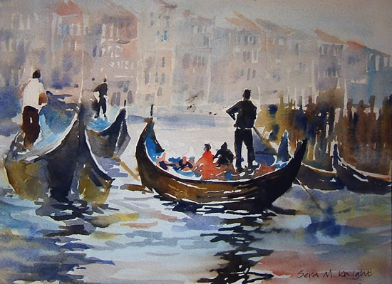 Gondolas Venice - Boats Gallery of Paintings by Horsell Woking Surrrey Artist Sera Knight
