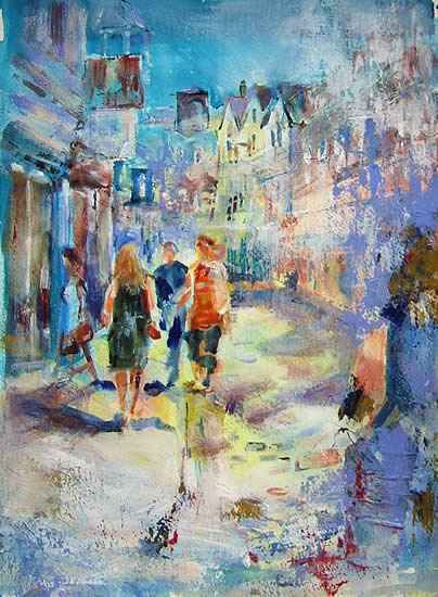 Woking Art Gallery - Street Scenes Collection - Sunny Street - Painting by Horsell Woking Surrey Artist Sera Knight