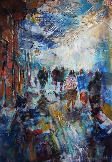 Woking Art Gallery - 'Coming & Going' Street Scene - Painting by Horsell Woking Surrey Artist Sera Knight