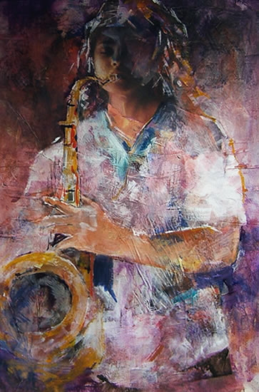 Woking Art Gallery - Musicians Collection - Saxophone Player - Painting by Horsell Woking Surrey Artist Sera Knight