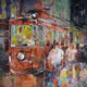Woking Art Gallery - Street Scene Collection - Tram  - Painting by Horsell Woking Surrey Artist Sera Knight