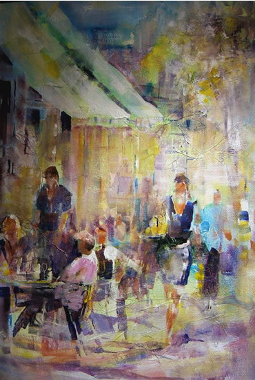 Woking Art Gallery - Street Scene Collection - Cafe Society  - Painting by Horsell Woking Surrey Artist Sera Knight