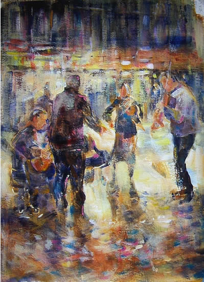 Woking Art Gallery - Music Collection - Street Musicians / Entertainers - Painting by Horsell Woking Surrey Artist Sera Knight